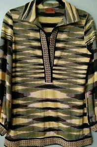 MISSONI Italy Open Collared Sweater Tiger Stripe L